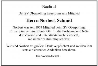 Bild der Meldung: SV Oberpolling trauert um sein Mitglied Herrn Norbert Schmid