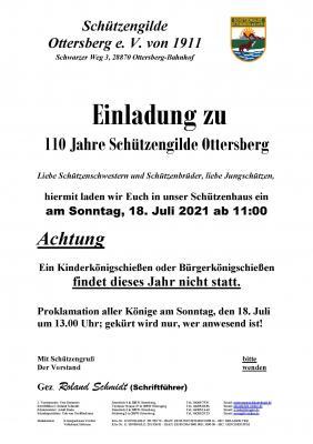 Einladung zu 110 Jahre Schützengilde Ottersberg