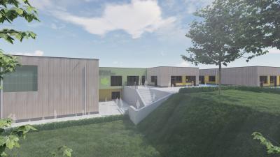 Weitere Baufortschritte für die neue Grundschule mit Sporthalle in Grünhainichen