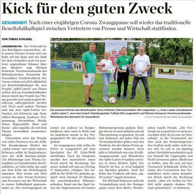 Foto zur Meldung: 8. Benefizspiel Presse vs. Wirtschaft zugunsten Apfel-Latein steigt am 17. September bei SV Grün-Weiß Langendorf