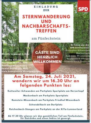 Wanderung zum Fünfeckstein am 24.7.2021