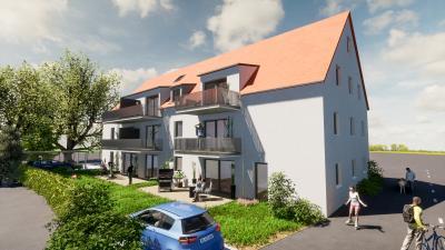 Foto zur Meldung: Geplant: Moderne, barrierefreie Wohnanlage mit 7 Eigentumswohnungen im Zentrum von Gochsheim (KfW 55 Effizienzhaus)