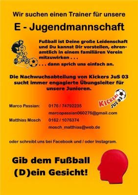 Kickers JuS 03 sucht einen Trainer für die E - Jugendlichen