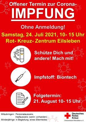 Corona-Impfung ohne Termin - 24.07. - Eilsleben - Rot-Kreuz-Zentrum