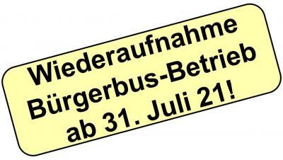 Wiederaufnahme Bürgerbus-Betrieb nach Corona-bedingter Pause!