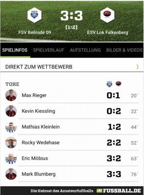 Ausschnitt fussball.de