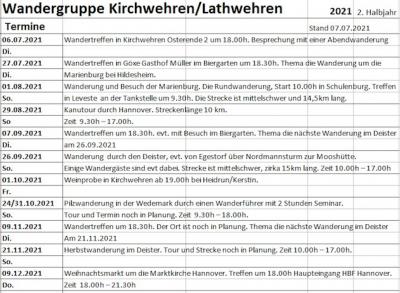 Terminplan 2. Halbjahr 2021 der Wandergruppe