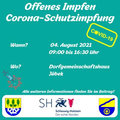 Offene Corona Schutzimpfung am 04.08. in Jübek