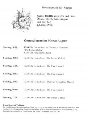 Foto zur Meldung: Gottesdienste der ev. Kirchengemeinde Dietersweiler im August