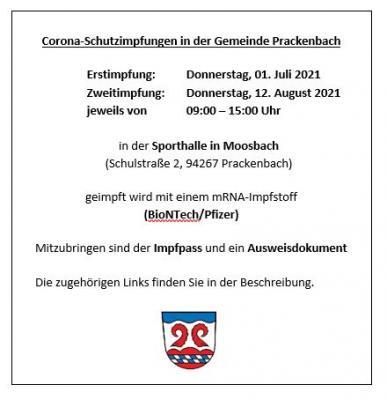 Foto zu Meldung: Corona-Schutzimpfungen in der Gemeinde Prackenbach