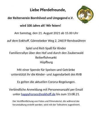 Foto zur Meldung: 100 Jahre Reiterverein Bornhöved und Umgegend – anmelden bis 13. August