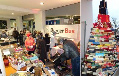 Groß war der Andrang beim letzten Gebrauchtwarenmarkt beim Nikolausmarkt, rechts: Ein Christbaum aus Büchern!