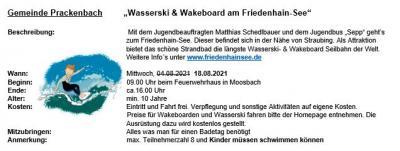 Terminänderung - Ferienprogramm: Wasserski & Wakeboard am Friedenhain-See