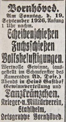 Schießen und Tanzkränzchen Bornhöved SKTB 16.09.1926