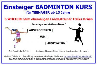 Foto zu Meldung: Einsteiger Badminton Kurs