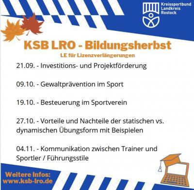KSB - Bildungsherbst bietet Kurzschulungen und Fortbildungen - Anmeldung ab sofort!