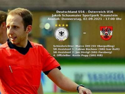 Bild der Meldung: Marco Öttl, Schiedsrichter des SV Oberpolling vor Länderspieldebüt