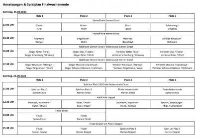 Vereinsmeisterschaften 2021 - Spielplan