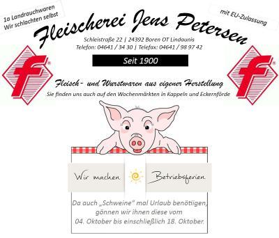 Betriebsferien Fleischerei Jens Petersen