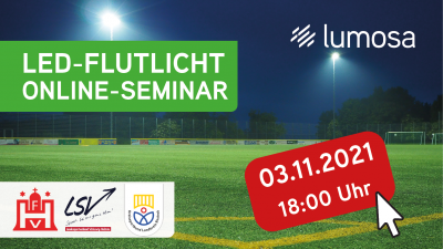 Vorschaubild der Meldung: Online-Seminar zum Thema LED-Flutlicht für Sportplätze