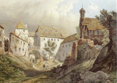 1846 - kolorierten Stahlstich von Johann Gabriel Friedich Poppel  - Ansicht Innenhof Richtung Palas.jpg