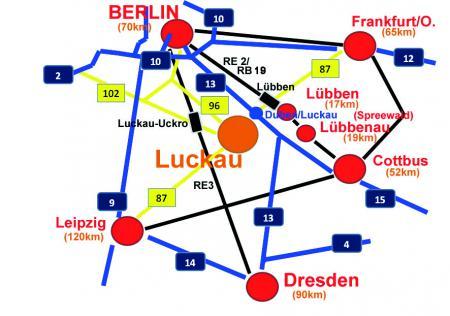 Lageplan Luckau in der Region