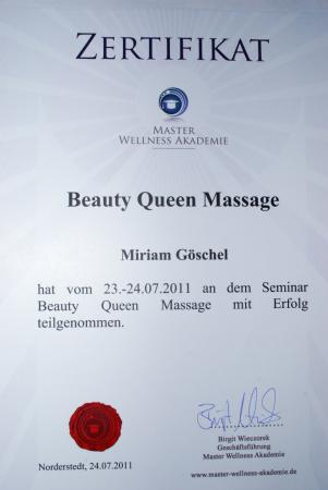 Zertifikat Beauty Queen Massage