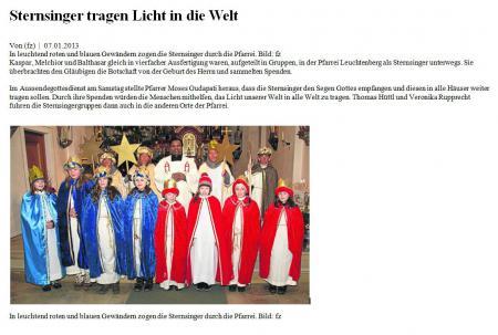 Sternsinger tragen Licht in die Welt 2013
