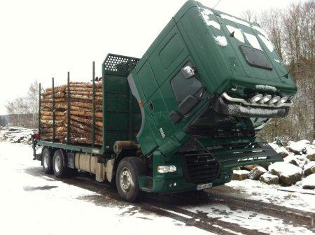 Holztransporte Appell mit einem gesnipten DAF 105.510