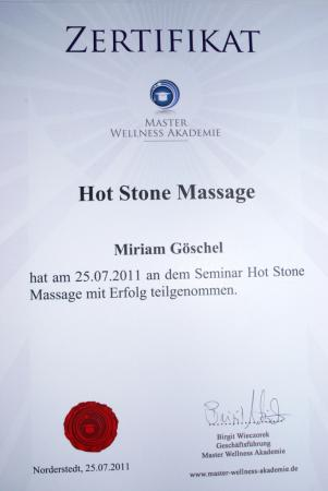 Zertifikat Hot Stone Massage
