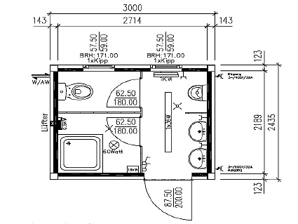 größe wc kabinen