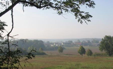 Fläming im Oktober-Nebel, Blick vom Hagelberg nach Klein-Glien