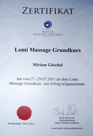 Zertifikat Lomi Massage Grundkurs
