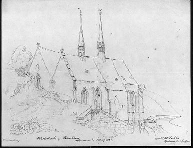 Die Klosterkirche vor dem Abbruch des Daches 1840