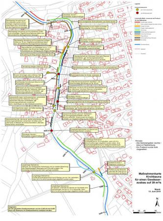 Abbildung Maßnahmenkarte zum Lokalen Hochwasserschutz Kirchbauna