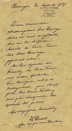 Brief von Dr. Hesse, Anmeldung des Lawn-Tennis-Club 1907