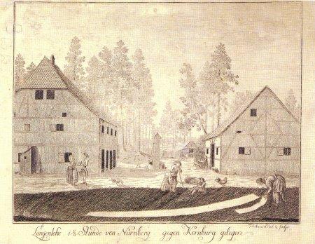 Ansichtskarte von 1780 Kupferstich