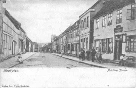 Die Malchiner Straße, Ansichtskarte vor 1904