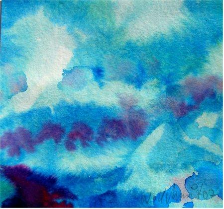 Willi Schmidt - Blaue Stunde am Silbersee - Aquarell