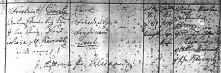 Taufeintrag Carl Friedrich Ferdinand Görtz, geboren am 8.8.1819
