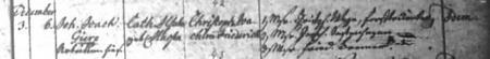 Taufeintrag Christoph Joachim Friedrich Gierz im Kirchenbuch Neukalen