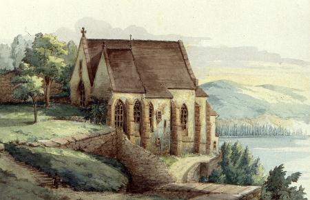 Die Klosterkirche 1864,  Aquraell Philibert de Graimberg