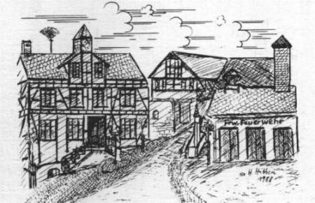 Dorfplatz_mit_Geraetehaus_1988_Zeichnung.JPG