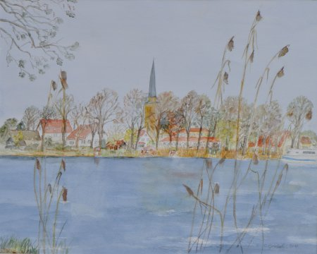 Christa Griebel - Panorama Groß Köris - Schulzensee - Aquarell