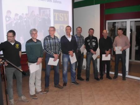Mannschaft des Jahres 2013 mit dem 1. Vorsitzenden, Thomas Hillmer (links)