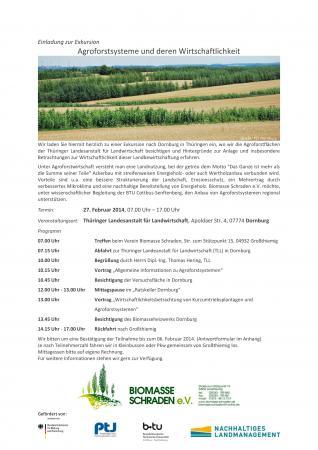 Einladung zur Exkursion - Agroforstsysteme und deren Wirtschaftlichkeit- Dornburg, 27.02.2014