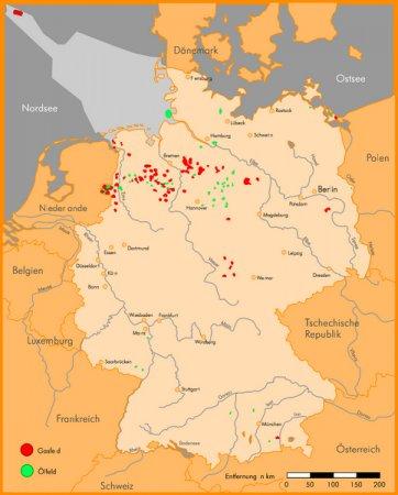 Erdöl- und Erdgasfelder in Deutschland
