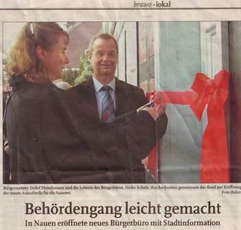 Eröffnung des Bürgerbüros mit Stadtinformation am 12.11.2005