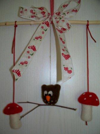 Fensterdeko Eule-Pilz