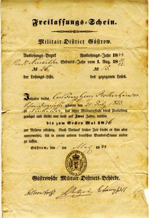 Freilassungsschein 1844